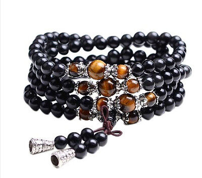 Buddhist Mala Tibetan Meditation Prayer beads - Tigers Eye Bracelet or Necklace