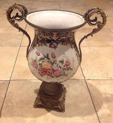 Antique Sevres Style Hand Painted Urn With Bronze  Mount  Handles Old Nice!