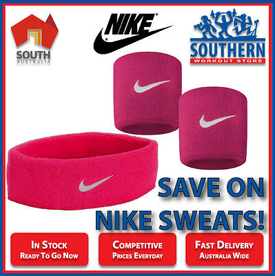 Nike Swoosh Sweat Bands Head Wrist Bundle Deal Vivid Pink Sport Fitness Fashion