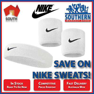 Nike Swoosh Sweat Bands Head & Wrist Bundle Deal White Sport Fitness Fashion