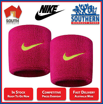 Nike Swoosh Sweat Wrist Bands Berry Pink Sport Gym Fitness Fashion Cotton