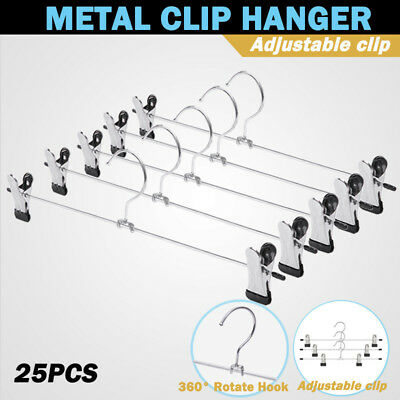 25PCS Metal Coat Hanger Trousers Adjustable Clothes Pant Skirt Clip Hook Holder