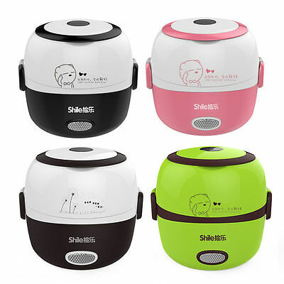 1.3L Portable Electric Lunch Box Rice Cooker Steamer 2 Layer Stainless Steel NEW