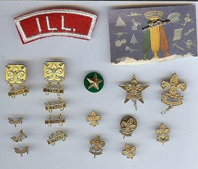 Vintage Boy Scout Cub Scouts Lot of 17 Pins/ Medals + 1 Patch Never used 1960's