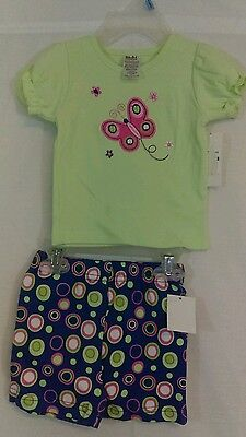 New Baby Essentials Outfit Set Butterfly Top Circle Shorts Girl 3 to 6 months