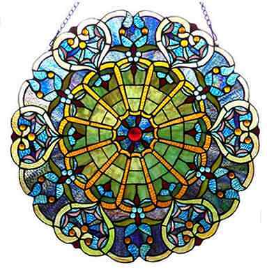 """23"""" Stained Glass Webbed Heart Window/Wall Panel Tiffany Style River of Goods"""