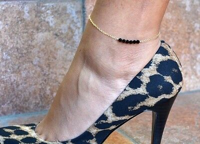 14K Gold Filled ankle bracelet with Swarovski crystals anklet choose color