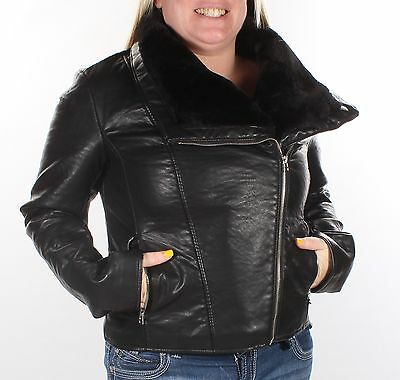WILD FLOWER Womens New Black Motorcycle Faux Fur Casual Coat L B+B