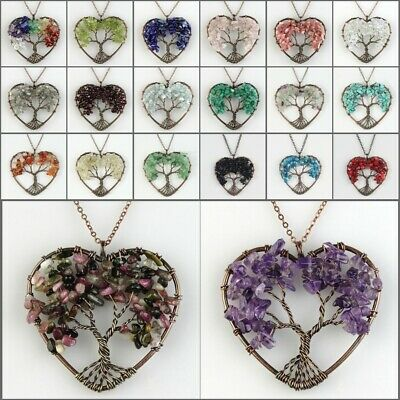 Natural Amethyst Lapis Lazuli Chakra Tree of Life Copper Heart Pendant Necklace
