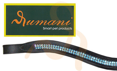 Rumani Wave-Shape Browband in Quality Leather With Diamante Chain