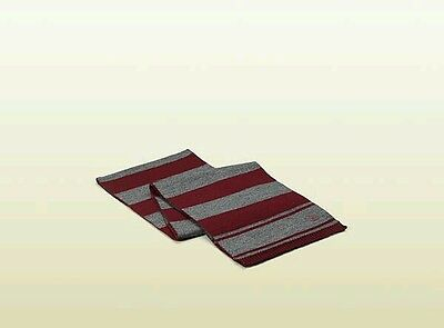 NWT NEW Gucci boys girls women's gray maroon wine red stripe soft wool scarf