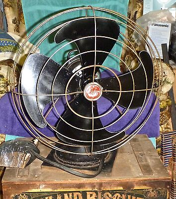 """Antique 16"""" GE General Electric Oscillating Table Fan 21"""" Tall X 16"""" Dia."""