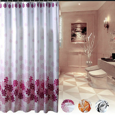 180x180cm Shower Curtain Flowers Waterproof Bath Curtains Bathroom With12 Hooks