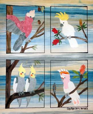Quilting Patchwork Applique Batik Quilt by Numbers COCKATOOS Set 4 Fabric Kit...
