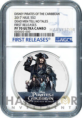 2017 Disney Pirates Of The Caribbean - Silver Coin - Ngc Pf70 First Releases