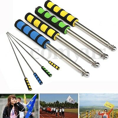 Stainless Telescopic Flag Pole 120CM Portable Handheld Poles for Flags Windsock