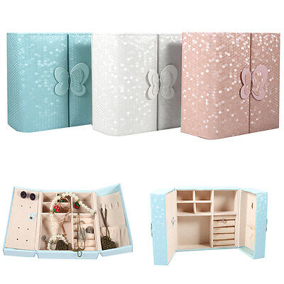 Lovely Jewelry Box Storage Organizer Case Ring Earring Necklace Display New