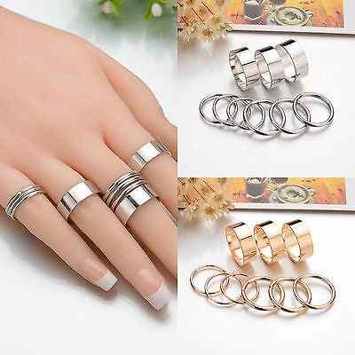 9Pcs/Set Bohemian Simple Women Silver Gold Punk Alloy Midi Finger Knuckle Rings