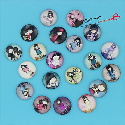 12/16/20/25/30MM Image Naive girl Glass Round Dome Cabochon Flatback Cameo
