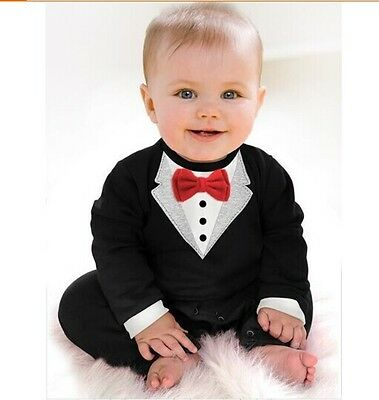 Baby Boy Smart Tuxedo Romper Suit Formal Outfit Pageboy Wedding Christening