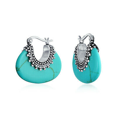 Bling Jewelry Sterling Silver Antique Style Bali Style Turquoise Hoop Earrings