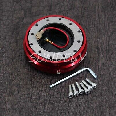 Universal Red Thin Steering Wheel Quick Release Hub Adapter Snap Off Boss Kit