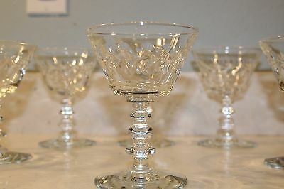 Vintage cut glass wine goblets- set of 6