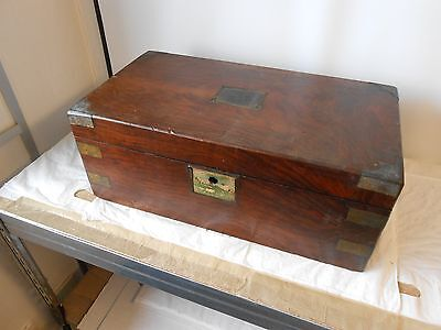 Antique Campaign Writing Slope  in need of restoration - brass bound, hardwood
