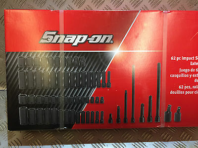 """Snap-On Tools, 62 Piece Impact Socket & Extension Set 3/8"""" & 1/2"""" Drive New"""