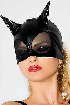 SEXY mascherina nera GATTO wetlook tulle PARTY maschera uomo donna GLAMOUR !