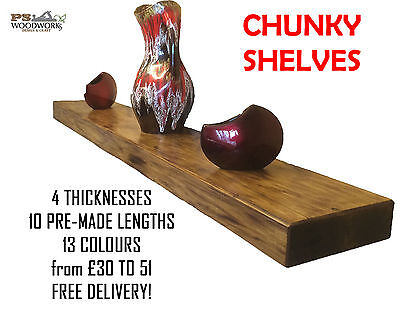 Chunky Wooden Rustic Solid Floating Shelf Shelves  Mantel Reclaimed 7cm