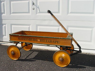 RARE 1920s HARRISBURG PA Telegraph antique Newspaper Boy Wooden Wagon c1924