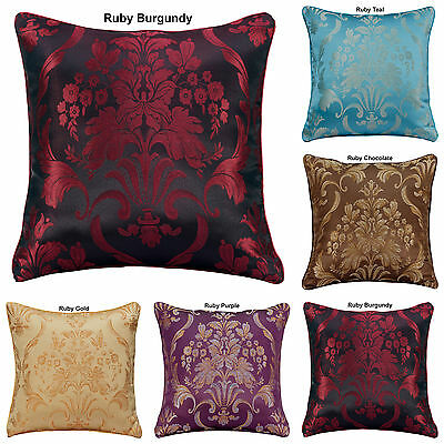 "LUXURY JACQUARD FLORAL DAMASK CUSHION COVERS OR FILLED 18""x18"" INCHES FREE P&P"