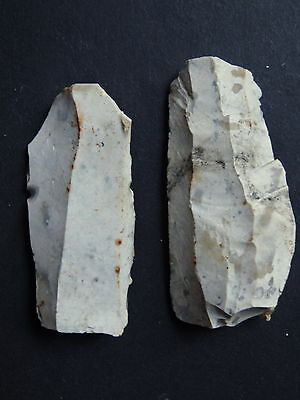 "▇2 BLADE /KNIFE FLINT""Paris Basin""  MESOLITHIC / NEOLITHIC / FRENCH PREHISTORY"