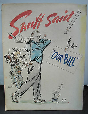 Vintage Golf Watercolour  Avertising Cartoon Picture, Our Bill