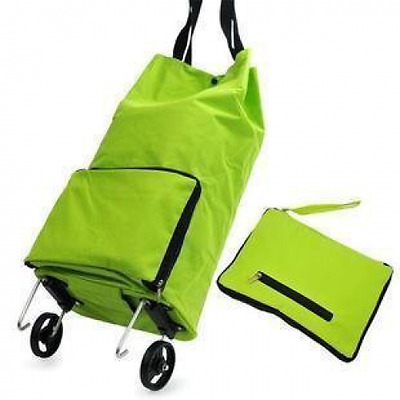 Grocery Cart With Wheels Kittymouse Foldable Wheeled Shopping Cart Bag Green New