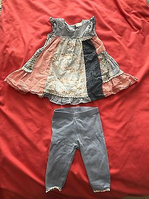 Next Girls Dress And Legging Outfit 3-6 Months