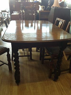 Vintage Oak Wind Out Extending Dining Table With Barley Twist Legs