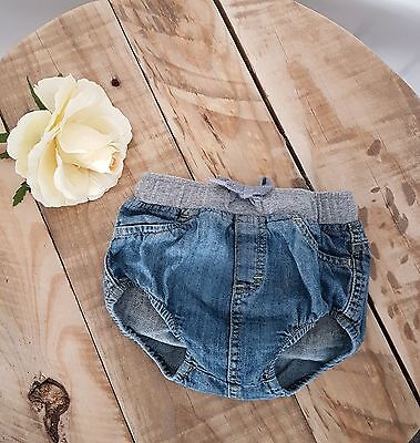 Baby Girl Denim FRED BARE Nappy Cover Bloomers Size 0 6-12Months Designer Pants
