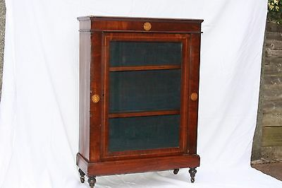 Antique Victorian Inlaid Mahogany Pier Cabinet Door Shelves Castors Case Vgc