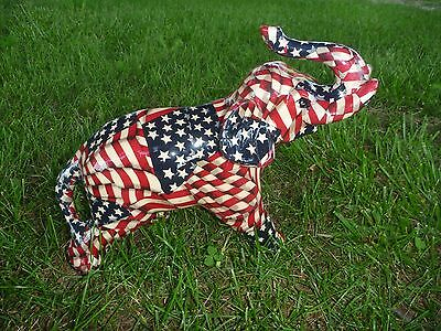 NEW Patriotic American Flag Lucky Elephant Patchwork Statue Collectible Figurine