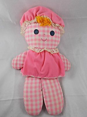 """Fisher Price Lolly Rattle Plush Doll 13"""" #420 1975 Pink Gingham"""