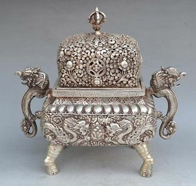 Chinese Silver Bronze Six Dragon Incense Burner & Lid