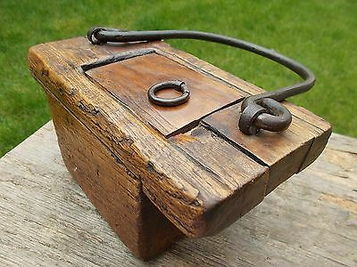 Vintage Wooden Tibetan Begging Box With Iron Handle~Old But Not Antique