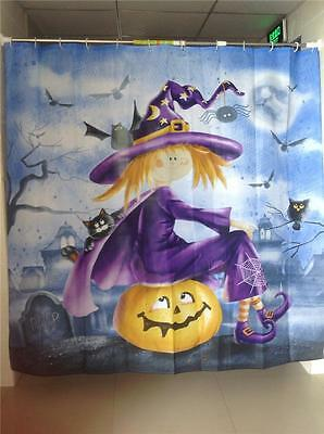 Comic Cartoon Witch Sitting on Pumpkin with Bats Shower Curtain 180mm x 180mm