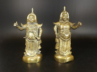 Antique CHINESE BRONZE FIGURE Warrior, GUARD, Pair of STATUE