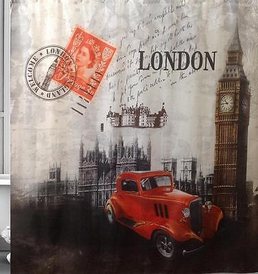 London Scene Big Ben West Minister Red Car Bathroom Shower Curtain Polyester