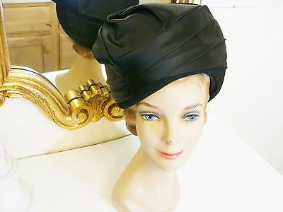 Vintage Designer Black Wool and Satin Turban Hat by Michelle
