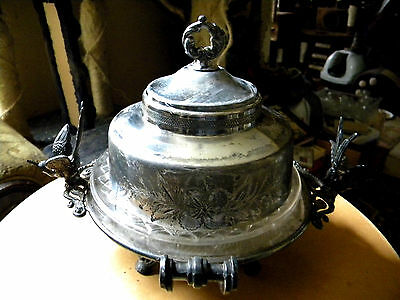 Empire Manufacturing Antique Rare Sparrows Butter Dish Quadruple Plated