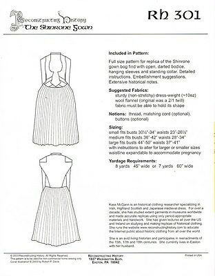 Reconstruction History Patterns - The Shinrone Gown -    Rh 301